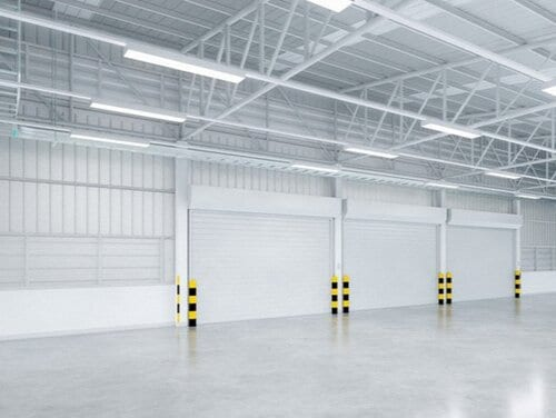 Inside view of large industrial garage bay